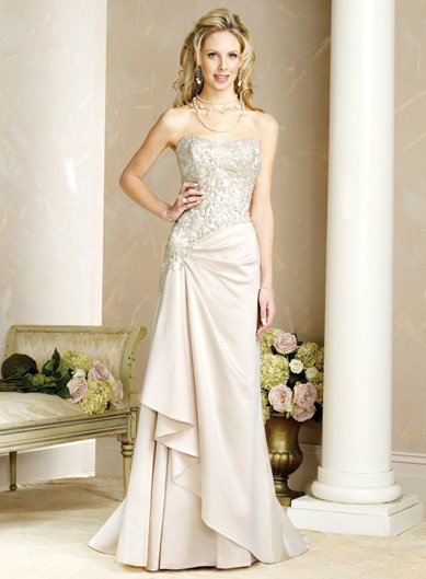 Graceful/Backless/A-Line/Floor Length/Satin with Beading/Wedding Dress/BR018