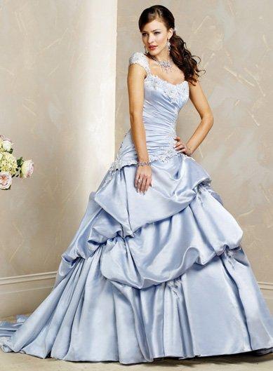 Exquisite/Detachable/Cap Sleeves/A-Line/Princess/Floor Length/Wedding Dress/BR019