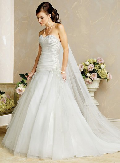 Elegant/Strapless/Satin&Organza/with Appliques/Princess/A-Line/Floor Length/Wedding Dress/BR020