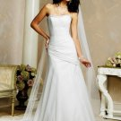 Laconic/Strapless/Organza/with Beading/A-Line/Princess/Floor Length/Wedding Dress/BR021