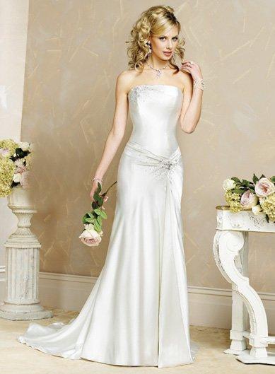 Laconic/Satin/with Beading/Strapless/A-Line/Princess/Floor Length/Wedding Dress/BR022