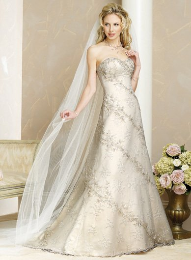 Tasteful/Strapless/Satin/with Appliques/A-Line/Princess/Floor Length/Wedding Dress/BR023