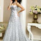 Graceful/Strapless/Satin/with Appliques/A-Line/Princess/Floor Length/Wedding Dress/BR026