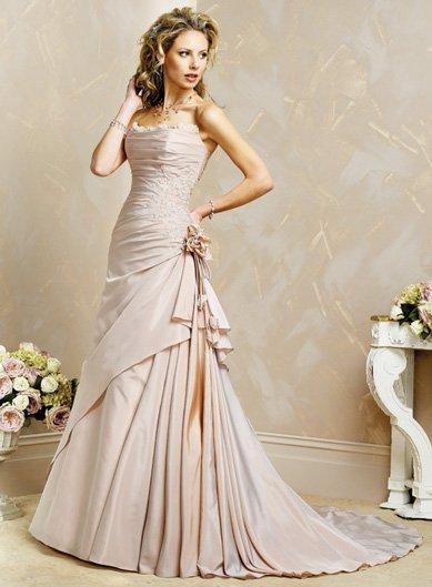 Exquisite/Satin/with Handmade Flower/Strapless/A-Line/Princess/Floor Length/Wedding Dress/BR031