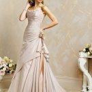 Exquisite/Satin/with Handmade Flower/Strapless/A-Line/Princess/Floor Length/Wedding Dress/BR031