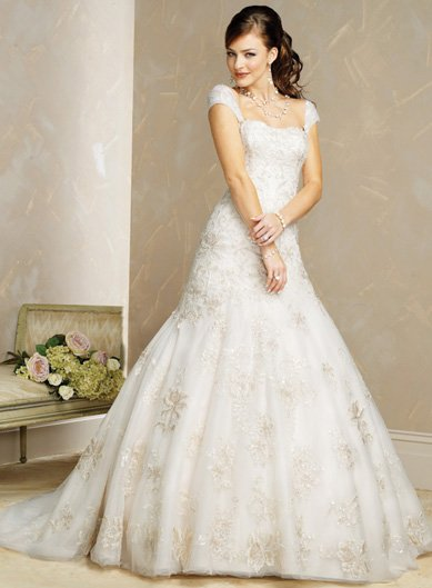 Adorable/Cap Sleeves/A-Line/Princess/Custom-made/Free Color/Wedding Dress/BR038