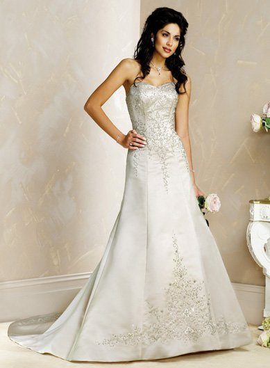 Elegant/Strapless/Satin/A-Line/Princess/Floor Length/Custom Made/Bridal Wedding Dress/BR053
