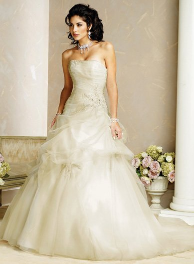 Decent/Strapless/Satin/A-Line/Princess/Floor Length/Custom Made/Wedding Dress/BR055