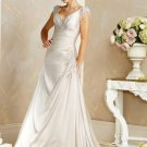 Elegant/Cap Sleeves/Satin/A-Line/Princess/Floor Length/Custom-Made/Bridal Wedding Dress/BR058