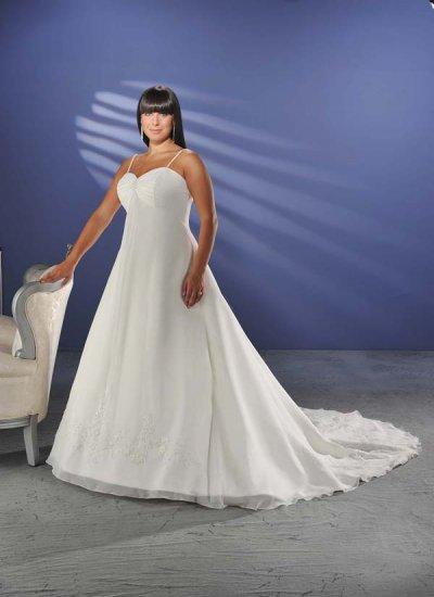 Elegant/Spaghetti Strap/Satin/A-Line/Princess/Custom Made/plus size/Wedding Dress/PS002