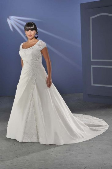 Recherche/Satin/Cap Sleeves/A-Line/Princess/Floor Length/plus size/Wedding Dress/PS003