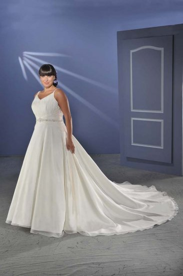 Elegant/Spaghetti Strap/Satin&Chiffon/A-Line/Princess/Custom-made/plus size/Wedding Dress/PS007