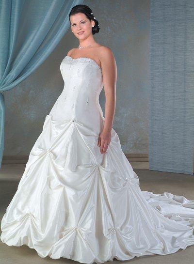 Recherche/Strapless/Taffeta/A-Line/Princess/Custom-made/plus size/Wedding Dress/PS016