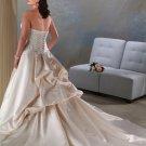 Elegant/Strapless/Satin/A-Line/Princess/Custom-made/Floor Length/plus size/Wedding  Dess/PS021