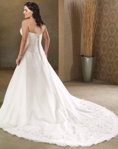 Elegant/Strapless/Satin&Organza/A-Line/Princess/Custom-made/plus size/Wedding Dress/PS023