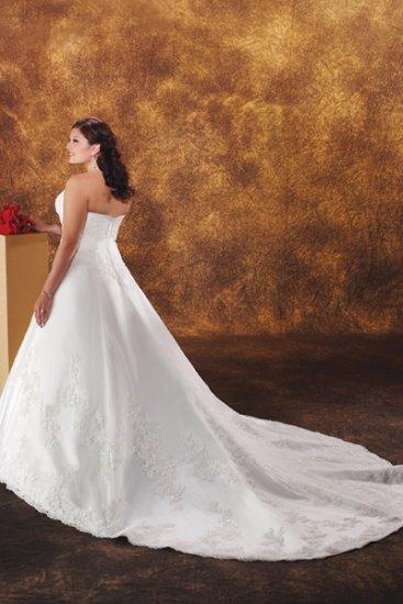 Exquisite/Strapless/Satin&Organza/A-Line/Princess/plus size/wedding dress/PS032