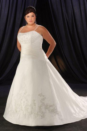 Seductive/Strapless/Satin/A-Line/Princess/Floor Length/Plus size/Wedding Dress/PS035