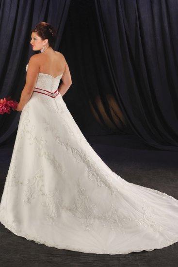 Exquisite/Strapless/Satin&Lace/A-Line/Princess/Floor Length/plus size/wedding dress/PS036
