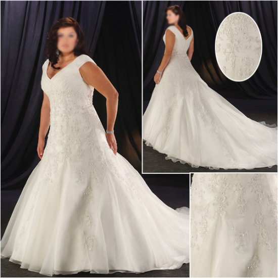 Acctractive/Strapless/Taffeta/A-Line/Princess/Plus Size/Floor Length/Bridal Wedding Dress/PS038