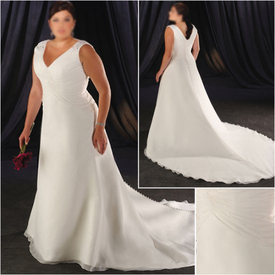 Acctractive/Sweetheart Neckline/Satin&Organza/A-Line/Princess/Plus Size/Bridal Wedding Dress/PS039