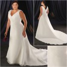 Acctractive/Sweetheart Neckline/Satin&Organza/A-Line/Princess/Plus Size/Bridal Wedding Dress/PS039