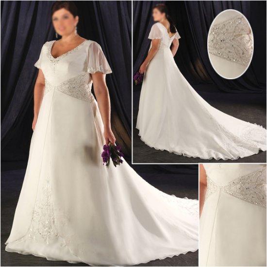 Elegant/Sweetheart Neckline/short Sleeves/Satin/A-Line/Princess/Plus Size/Bridal Wedding Dress/PS040