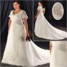Elegant/Sweetheart Neckline/short Sleeves/Satin/A-Line/Princess/Plus Size/Bridal Wedding Dress/PS040