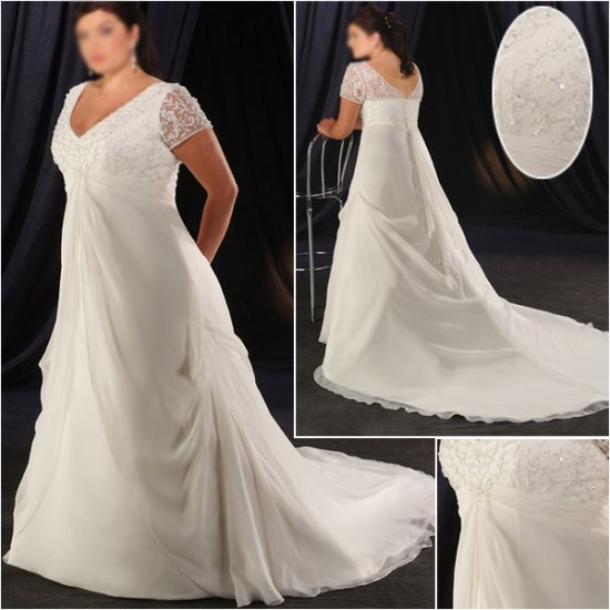 Elegant/Sweetheart Neckline/short Sleeves/A-Line/Princess/Plus Size/Bridal Wedding Dress/PS041