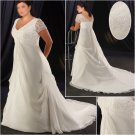 Elegant/Sweetheart Neckline/short Sleeves/A-Line/Princess/Plus Size/Bridal Wedding Dress/PS041