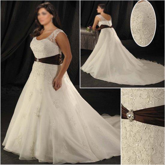 Elegant/Sweetheart Neckline/Cap Sleeves/A-Line/Princess/Plus Size/Bridal Wedding Dress/PS043