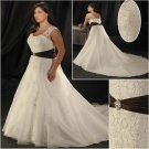 Elegant/Sweetheart Neckline/Cap Sleeves/A-Line/Princess/Plus Size/Bridal Wedding Dress/PS043
