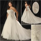 Elegant/Strapless/Satin&Organza/A-Line/Princess/Floor Length/Plus Size/Bridal Wedding Dress/PS048