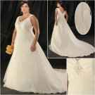 Elegant/Strapless/Satin&Organza/A-Line/Princess/Floor Length/Plus Size/Bridal Wedding Dress/PS049