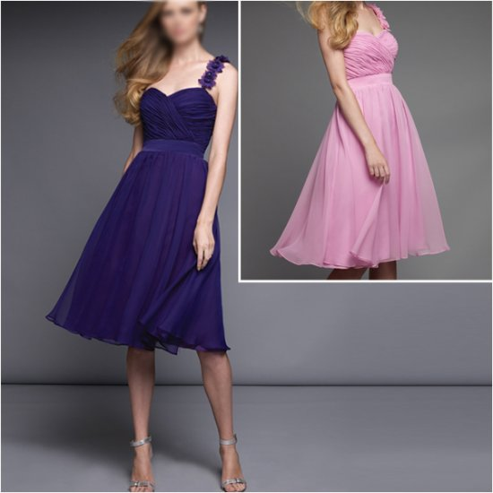 Free Shipping!!Graceful/One shoulder/Knee-Length/Chiffon/evening dress/party dress/AD001