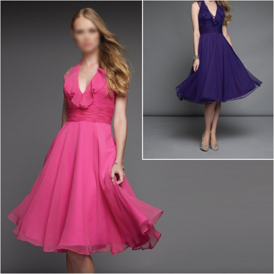 Free Shipping !! Elegant/Sweetheart Neckline/Knee-Length/Chiffon/evening dress/party dress/AD002