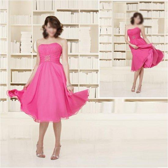 Elegant/Strapless/Knee-Length/Chiffon with Beading/evening dress/party dress/AD006