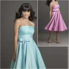 Elegant/Strapless/Knee-Length/Stretch Satin/with Bowtie/evening dress/party dress/AD008