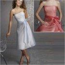 Custom Made/Elegant/Strapless/Knee-Length/Stretch Satin&Organza/evening dress/party dress/AD016