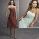 Custom Made/Elegant/Strapless/Knee-Length/Stretch Satin&Organza/evening dress/party dress/AD019