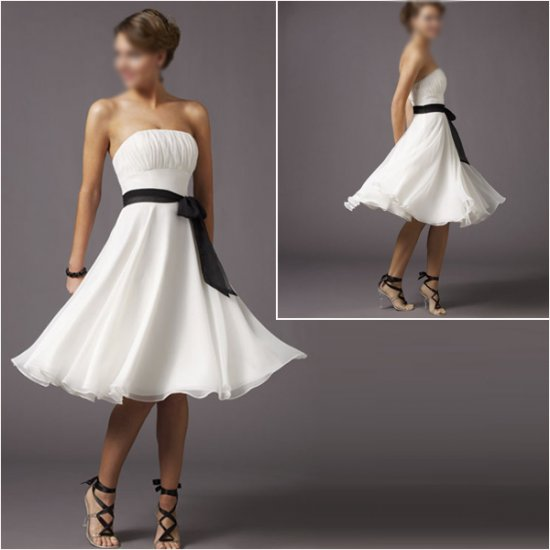 Elegant/Strapless/Knee-Length/Stretch Satin&Organza/with Ribbon/evening dress/party dress/AD020