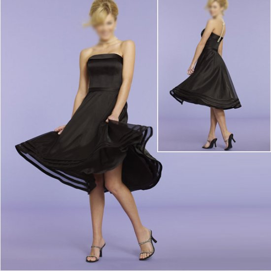 Elegant/Strapless/Knee-Length/Stretch Satin&Organza/with Beading/evening dress/party dress/AD022