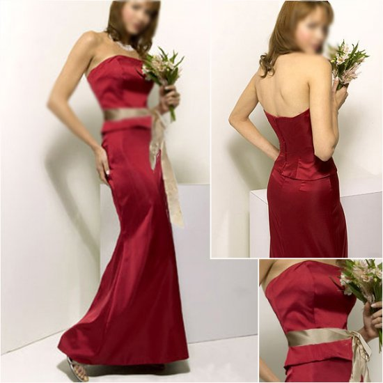 Elegant/Strapless/Knee-Length/Stretch Satin/with Ribbon/evening dress/party dress/AD025