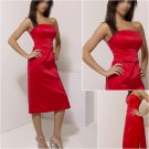 Free shipping/A-line/Strapless/Satin/Tea-Length/evening dress/party dress/AD029