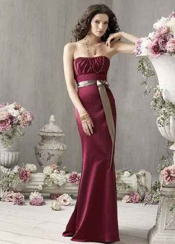 Free Shipping+10% discount/Sheath/Strapless/Satin/Floor length/Bridesmaid gowns/LN25