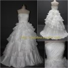 Free Shipping/A-line/Strapless/Satin&Organza/Floor length/Bridal Wedding Dress/CWD001