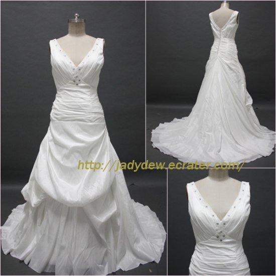 Free Shipping/A-line/Sleeveless/Taffeta/Court train/Bridal Wedding Dress/CWD002