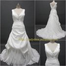 Free Shipping/A-line/Sleeveless/Taffeta/Court train/Bridal Wedding Dress/CWD002