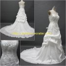 Free Shipping/A-line/Strapless/Taffeta/Court train/Bridal Wedding Dress/CWD003