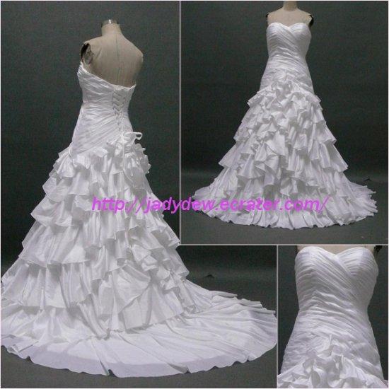 Free Shipping/A-line/Sweatheart/Chiffon/Court train/Bridal Wedding Dress/CWD005