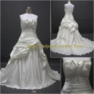 Free Shipping/A-line/Strapless/Satin/Court train/Bridal Wedding Dress/CWD006